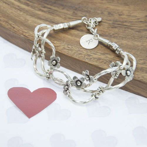 Personalised Fine Silver Forget Me Knot Bracelet
